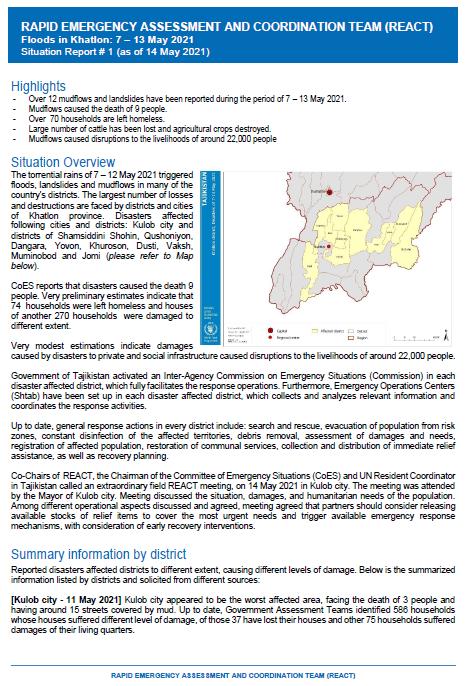 Rapid Emergency Assessment and Coordination Team (REACT): Floods in Khatlon
